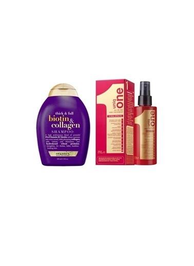 Organix Revlon Uniq One All İn One 10 Etkili Durulanmayan Bakım Spreyi 150 Ml+Organix Biotin Collagen Şampuan 385 Ml Renksiz